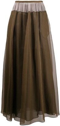 Fendi Vichy pattern organza skirt
