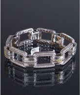 sterling silver and diamond ridged rectangle link bracelet