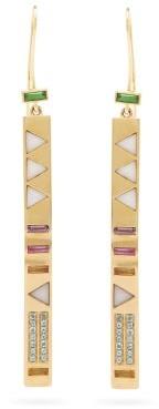 Harwell Godfrey Juju Stick 18kt Gold & Aquamarine Drop Earrings - Gold Multi