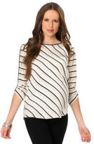 A Pea in the Pod BCBG 3/4 Sleeve Striped Maternity Shirt