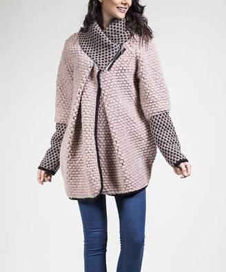Couture Jnj JNJ Women's Car Coats Pink - Pink Cowl Neck Wool-Blend Jacket - Women