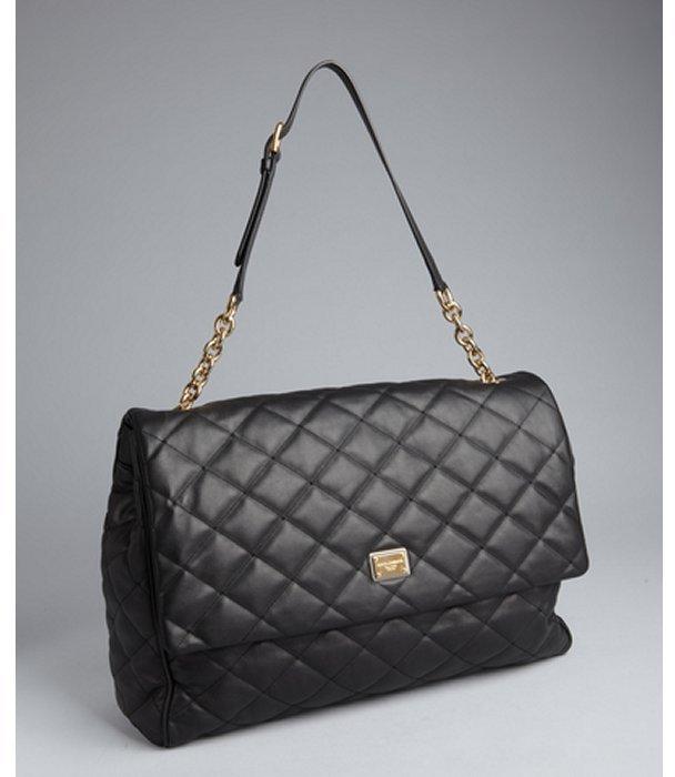 Dolce & Gabbana black quilted leather flap shoulder bag