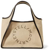 Stella McCartney Faux Leather-trimmed Perforated Canvas Tote - Beige