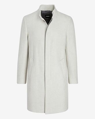 Express Ivory Herringbone Wool-Blend Topcoat