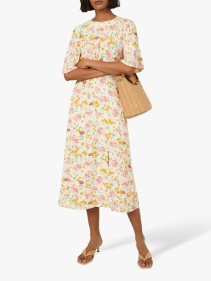 Warehouse Riviera Angel Sleeve Floral Midi Dress, Neutral/Multi