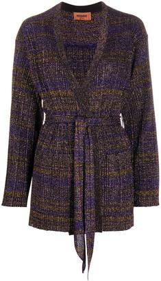 Missoni Belted Metallic-Thread Cardigan