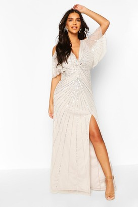 boohoo Bridesmaid Hand Embellished Angel Sleeve Maxi