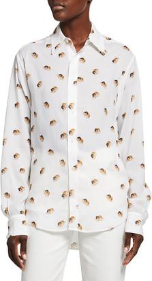 Fiorucci Allover Angels Silk Button-Down Shirt