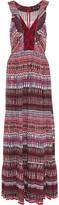 Saloni Suzi Lace-Paneled Printed Crepe Maxi Dress