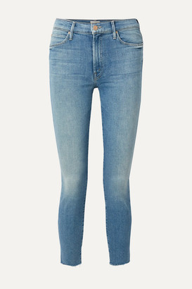 Mother The Stunner Cropped Distressed High-rise Skinny Jeans - Light denim