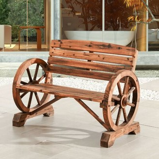 Rosalind Wheeler Keyshawn Wagon Wheel Wooden Garden Bench