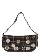 Celine AUTH Brown Leather Stitched Trim Europe Coin Handbag BC4408 MHL