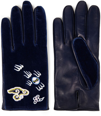 Gucci Embroidered Cotton-velvet And Leather Gloves
