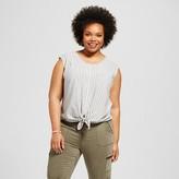 Merona Women's Plus Size Textured Tie Front Top White