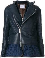 Sacai dual layer leather jacket