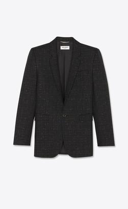 Saint Laurent Square-cut Long Jacket In Lame Check Wool Serge Golden Black 38