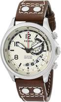 Fossil Men's FS5043 Recruiter Stainless Steel with Leather Band