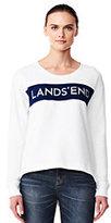 Lands' End Women's Sport Logo Stripe Sweatshirt-Gray Heather