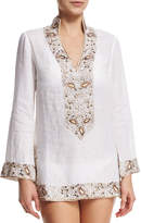 Flora Bella Viceroy Beaded Linen Short Coverup Tunic, White