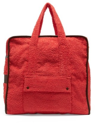 Gabriel For Sach - Towel Leather-trimmed Cotton-terry Tote Bag - Red