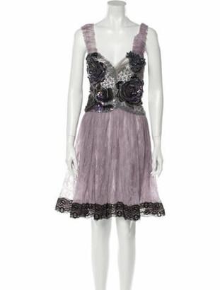 Rodarte Lace Pattern Knee-Length Dress Purple