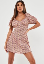 Missguided Pink Floral Milkmaid Skater Dress