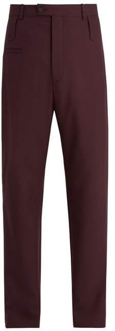 Balenciaga High Rise Wool Blend Twill Trousers - Mens - Purple