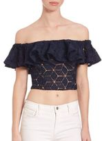 Rebecca Taylor Off-The-Shoulder Lace Cropped Top
