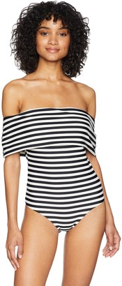 Rachel Roy Women's One Piece Swimsuit Off Shoulder Maillot with Open Back