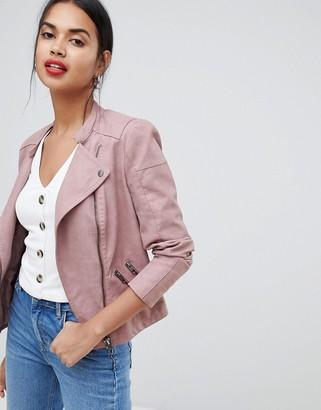 Only faux leather biker jacket-Pink