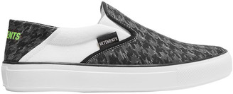 Vetements Logo-print Collapsible-heel Canvas Slip-on Sneakers