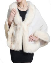 Helan Apparel Helan Women's Faux Fox Fur Shawl Cloak Cape Coat With Floral Beige