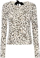 Marella QUICHE leopard print ribbon neck tie blouse