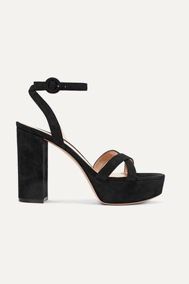 Gianvito Rossi 70 Suede Platform Sandals - Black