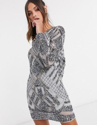 ASOS DESIGN embellished cowl-back shift mini dress