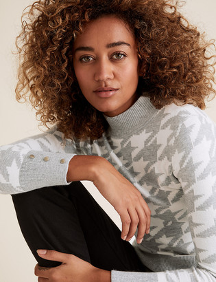 Marks and Spencer Soft Touch Dogtooth Funnel Neck Jumper