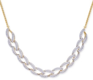 Wrapped in Love Diamond Link Statement Necklace (1 ct. t.w.) in Sterling Silver & 14k Gold-Plate, Created for Macy's