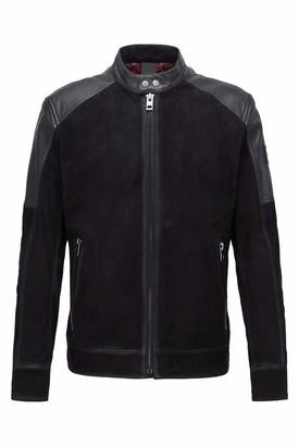 HUGO BOSS Mens Jasens Slim-fit Biker Jacket in Leather and Suede Black