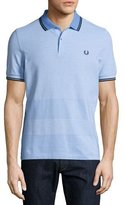 Fred Perry Oxford-Stripe Piqué Polo Shirt, Light Blue