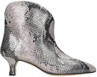 Paris Texas Low Heels Ankle Boots In Silver Leather