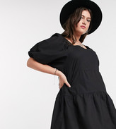 Influence Plus puff sleeve tiered square neck mini smock dress in black