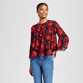 A New Day Women's Floral Tiered Ruffle Blouse - A New Day Navy