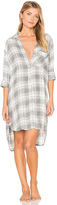Bella Dahl Oxford Plaid Sleep Shirt in Gray. - size XS (also in )