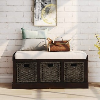 Rosecliff Heights Kating Linen Blend Wood Storage Bench Color: Espresso