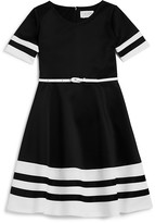 Us Angels Girls' Stripe Trimmed Dress - Sizes 7-16