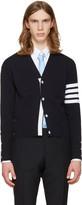 Thom Browne Navy Trompe Loeil Classic V-neck Cardigan