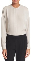 Vince Embroidered Stretch Silk Blouse
