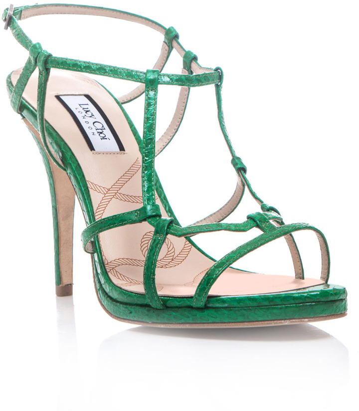 Freesia Lucy Choi London Snake-textured sandals