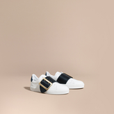 Burberry Buckle Detail Leather Trainers