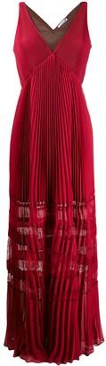Self-Portrait Lace-Insert Pleated Maxi Dress